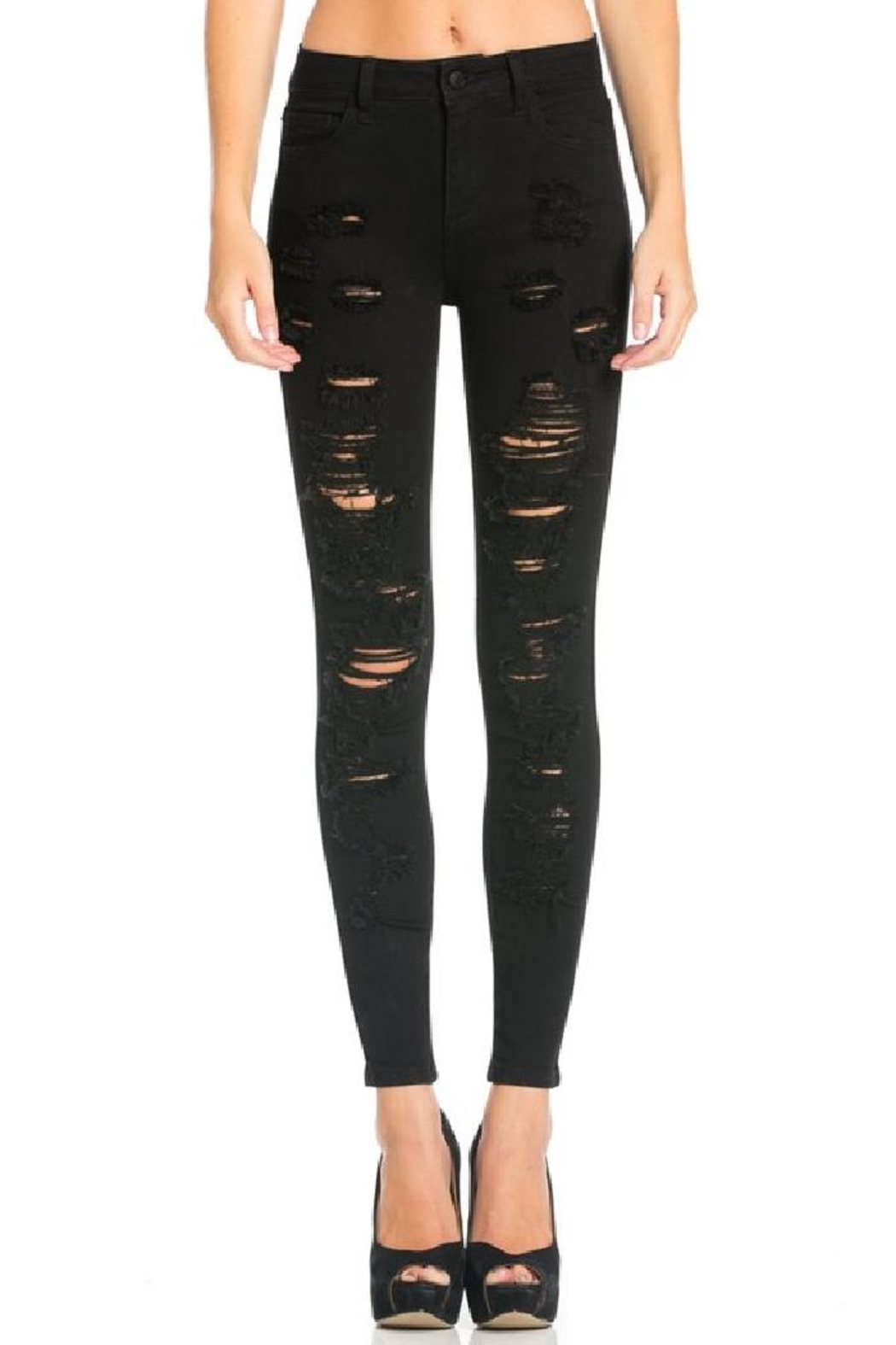 Cello Jeans Destroyed Black Skinny Jeans - Main Image