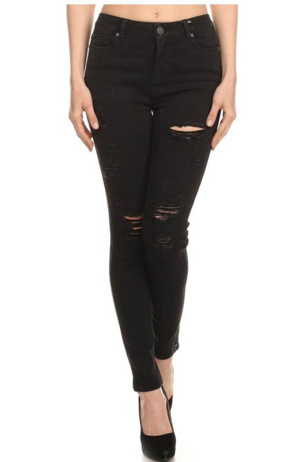 Cello Jeans Destroyed Black Skinny - Front Cropped Image