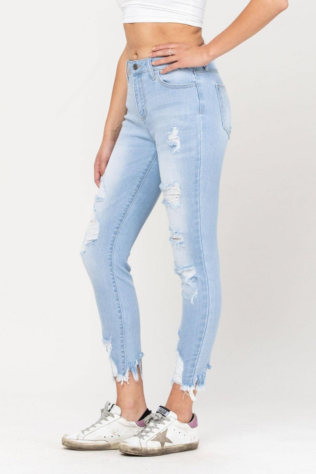 Cello Jeans Destructed Ankle Skinny - Front Full Image