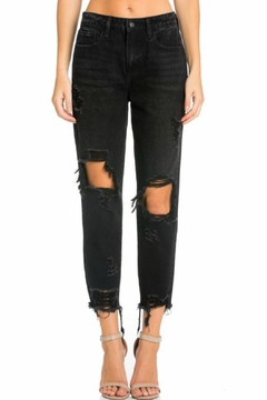 Cello Jeans Distressed Girlfriend Jeans - Product List Image