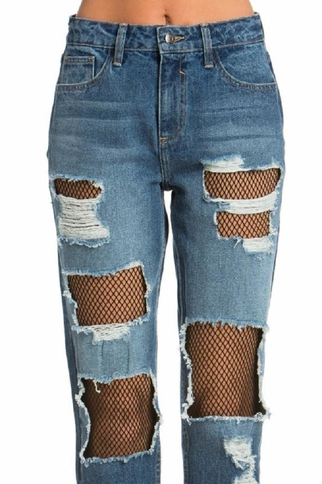 Cello Jeans Fishnet Girfriend Jeans - Side Cropped Image