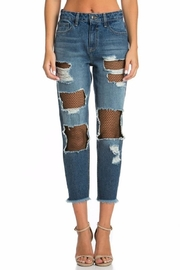 Cello Jeans Fishnet Girfriend Jeans - Front cropped
