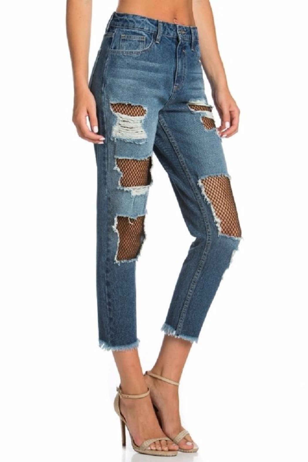 Cello Jeans Fishnet Girfriend Jeans - Back Cropped Image