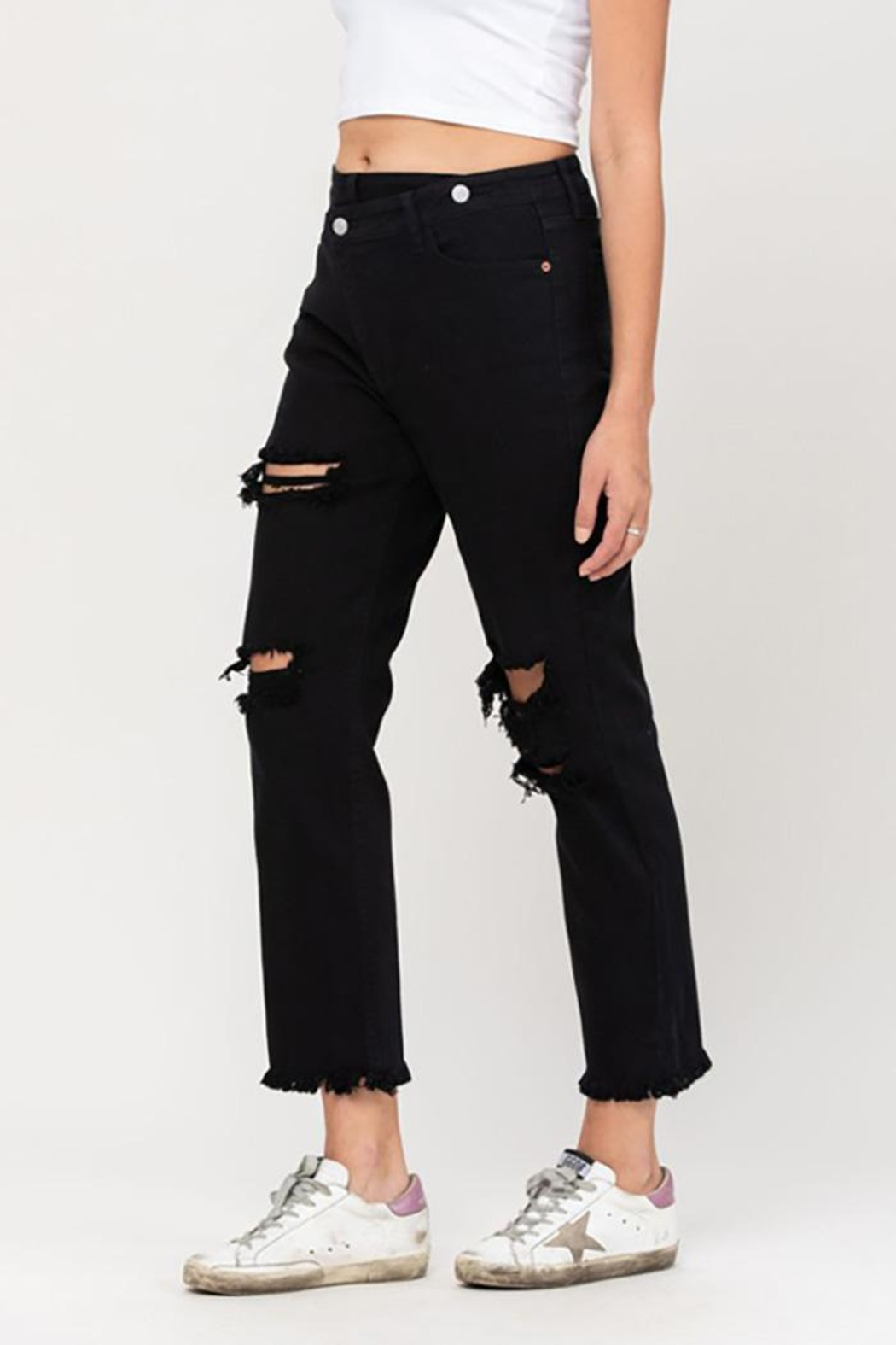 Cello Jeans High Rise Crossover Destroyed Straight Jeans - Back Cropped Image