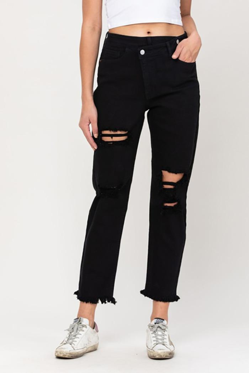 Cello Jeans High Rise Crossover Destroyed Straight Jeans - Side Cropped Image