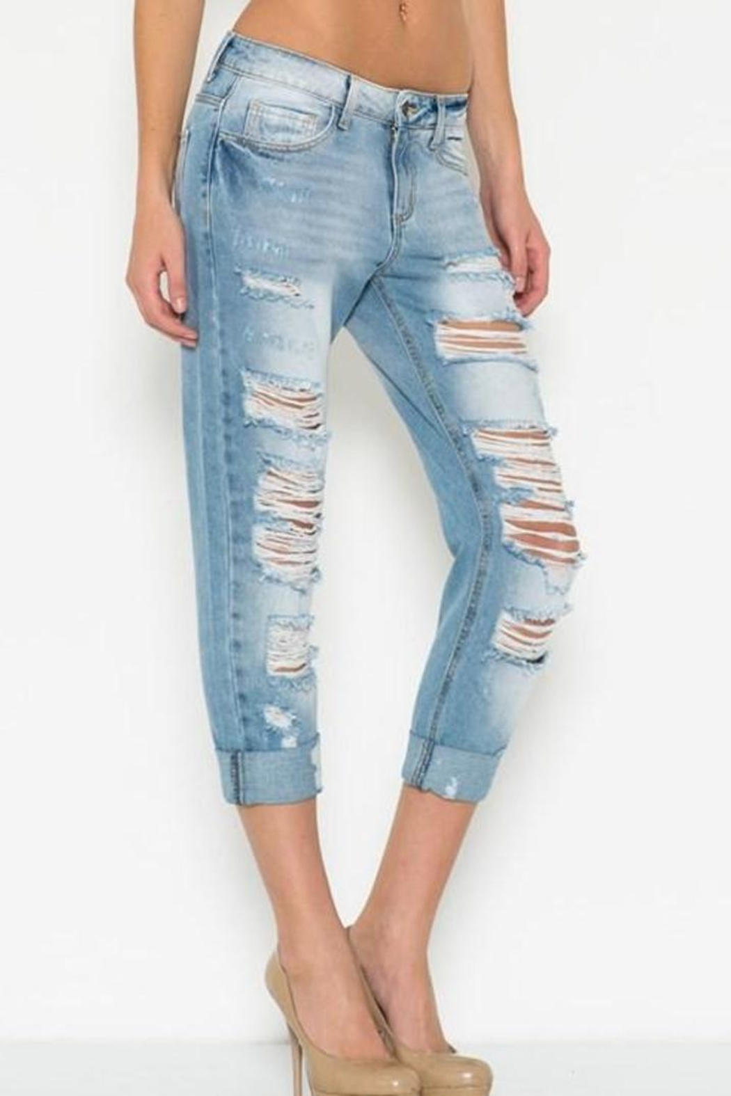 Cello Jeans Ripped Boyfriend Jeans - Front Full Image