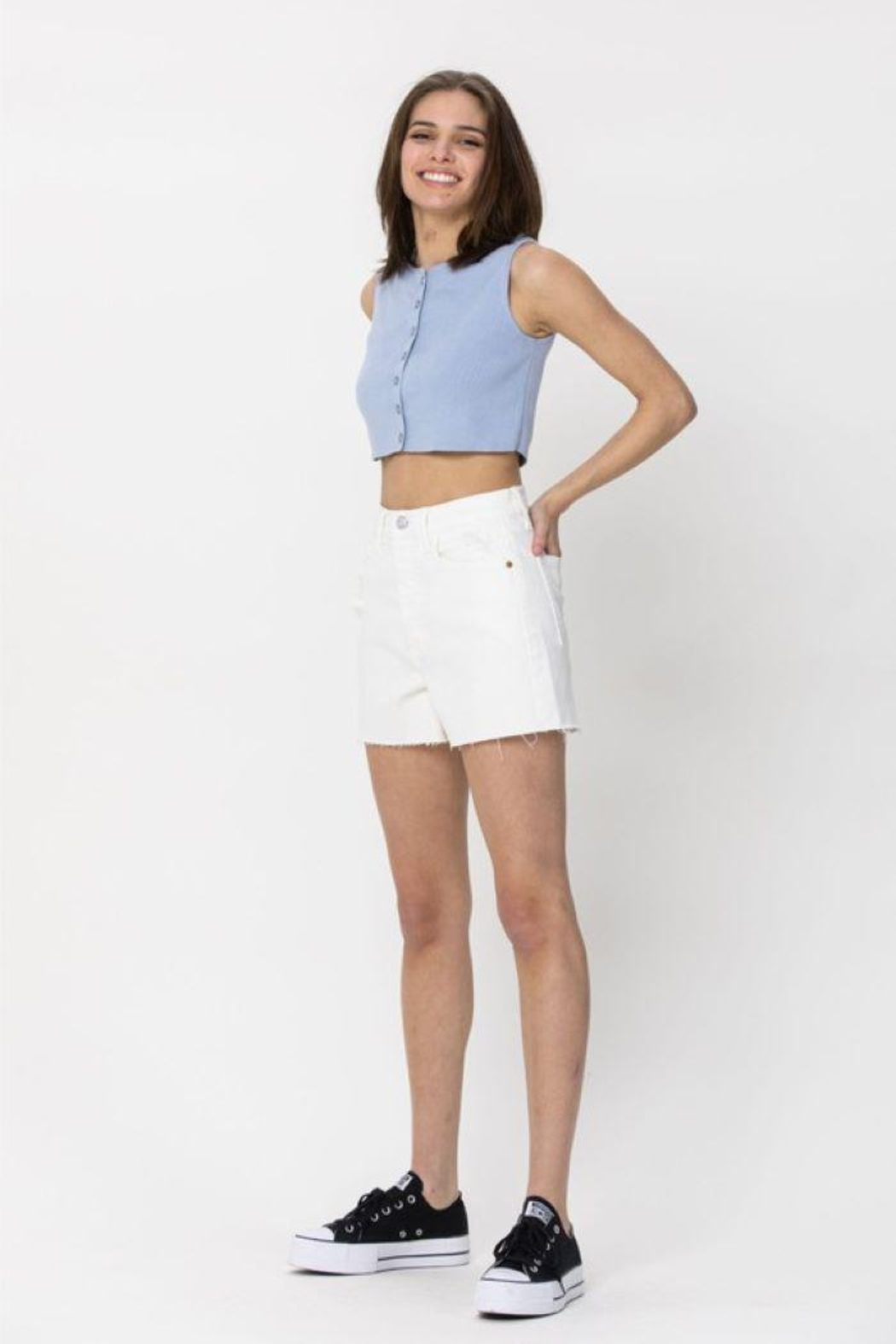 Cello Jeans Vintage High Rise Mom Shorts - Front Full Image