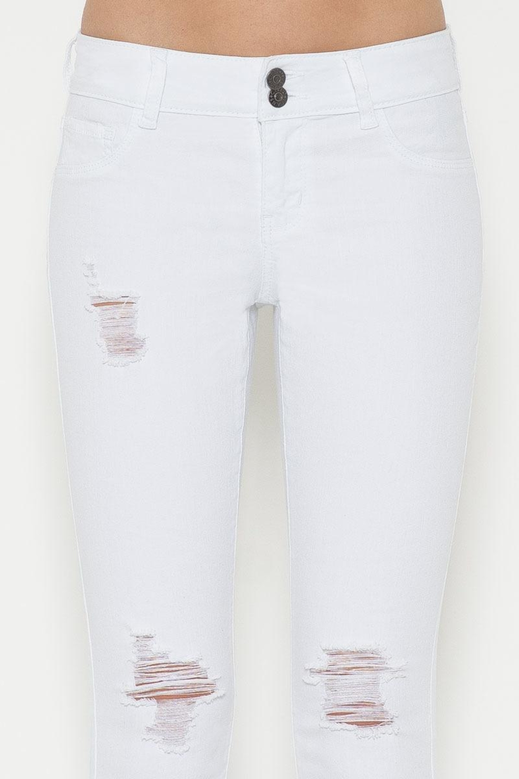 Cello Jeans White Distressed Jeans - Front Full Image