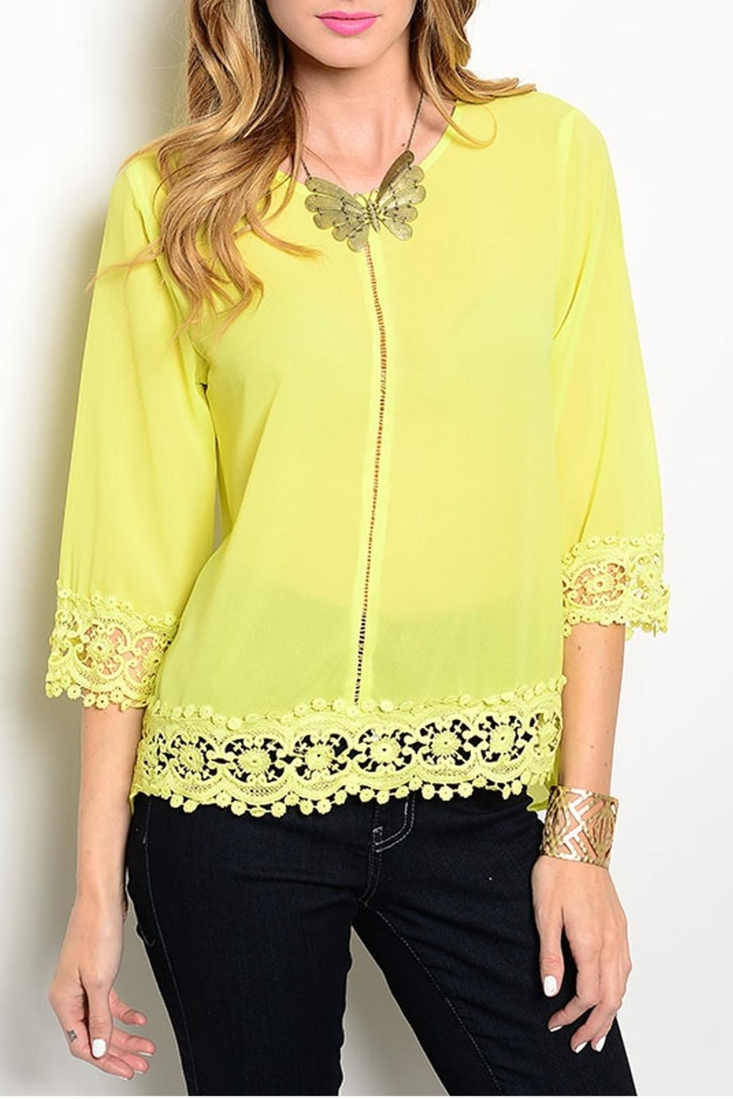 Ceres Crochet Detail Blouse - Front Cropped Image