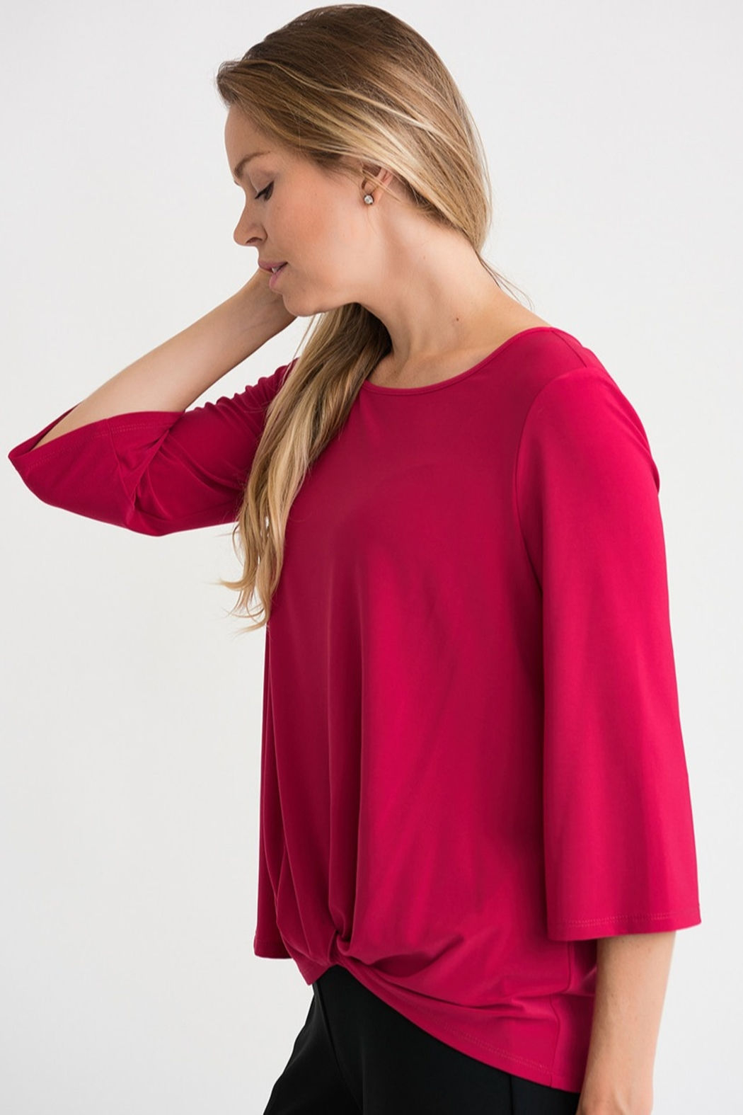 Joseph Ribikoff Cerise top with soft tie knot - Front Full Image