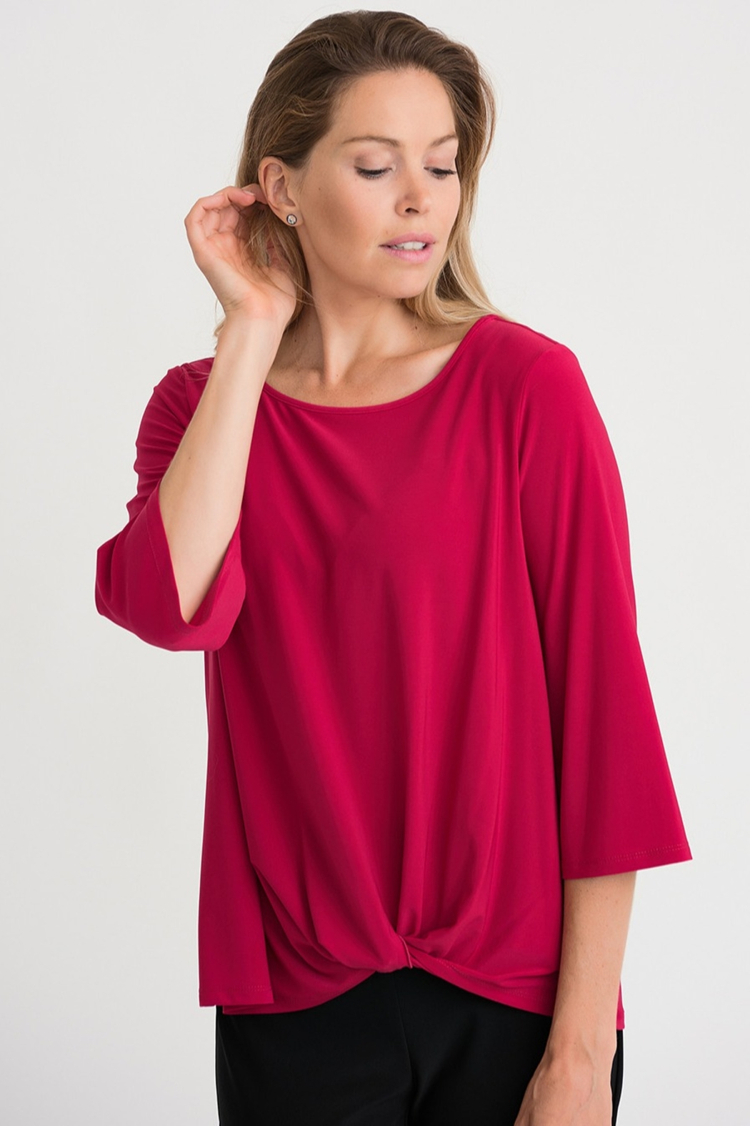 Joseph Ribikoff Cerise top with soft tie knot - Main Image