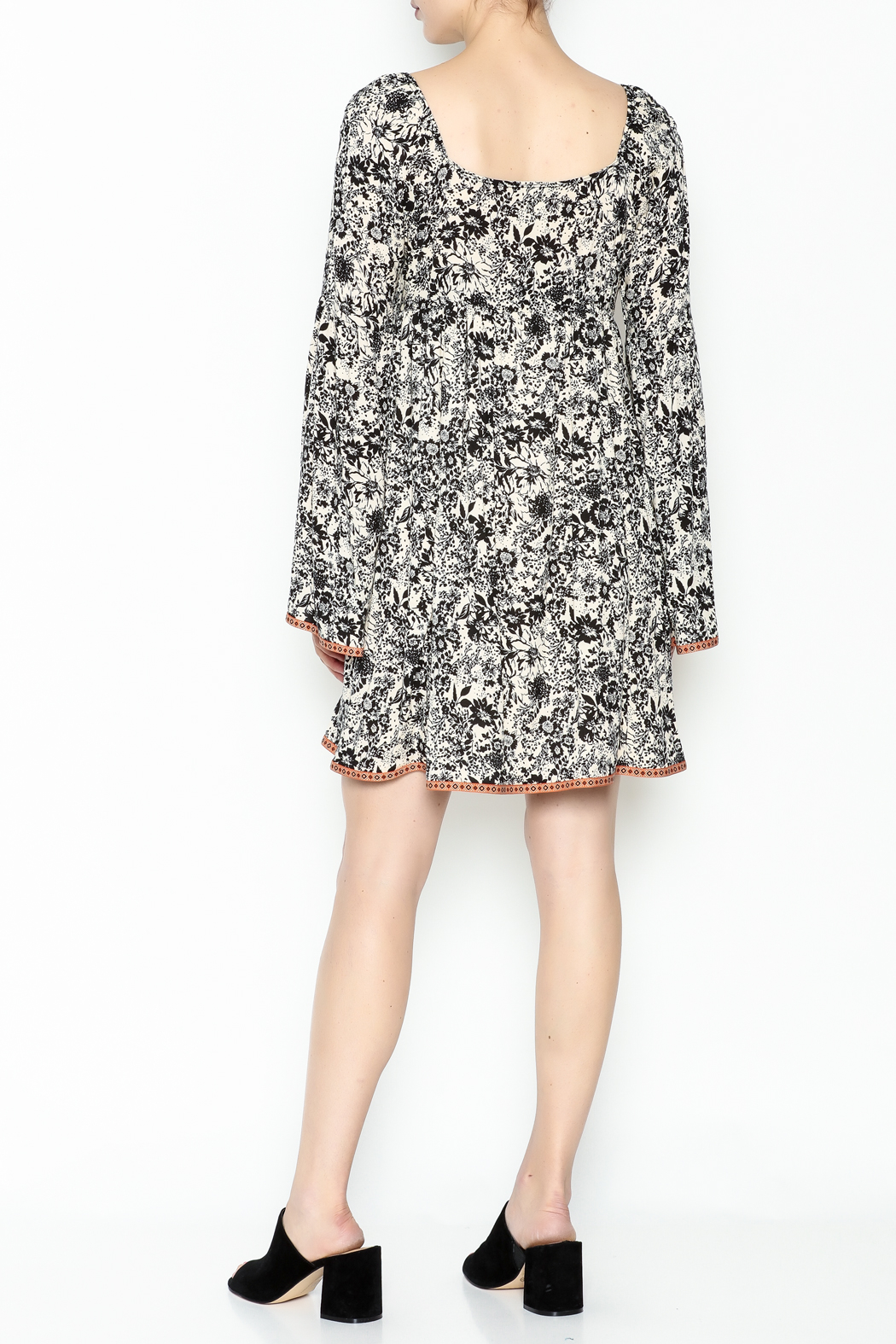 Ces Femme Floral Flare Dress - Back Cropped Image