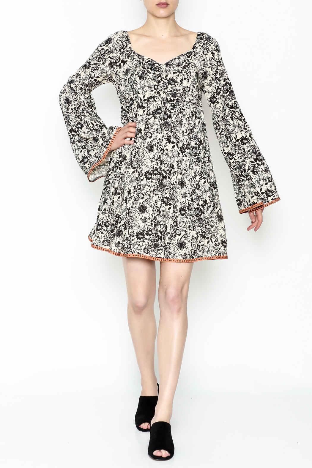Ces Femme Floral Flare Dress - Front Cropped Image