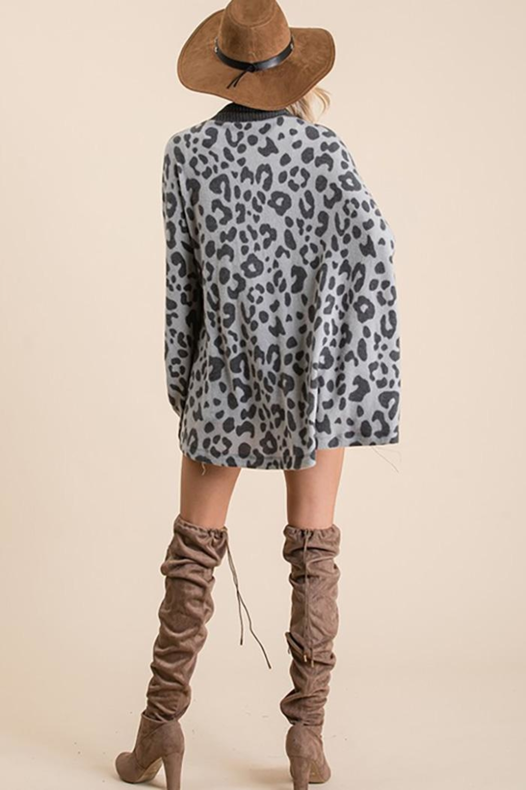 Ces Femme Animal Print Open Front Cardigan - Back Cropped Image