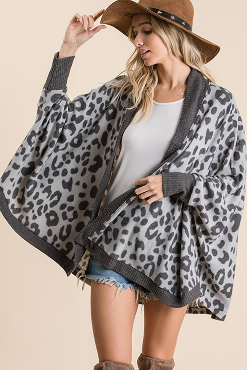 Ces Femme Animal Print Open Front Cardigan - Front Full Image
