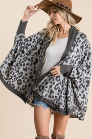 Ces Femme Animal Print Open Front Cardigan - Front full body