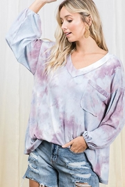 Ces Femme Balloon Sleeve Tie Dye Tunic Top - Product Mini Image