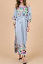 Ces Femme Boho Embroidered Dress - Front full body