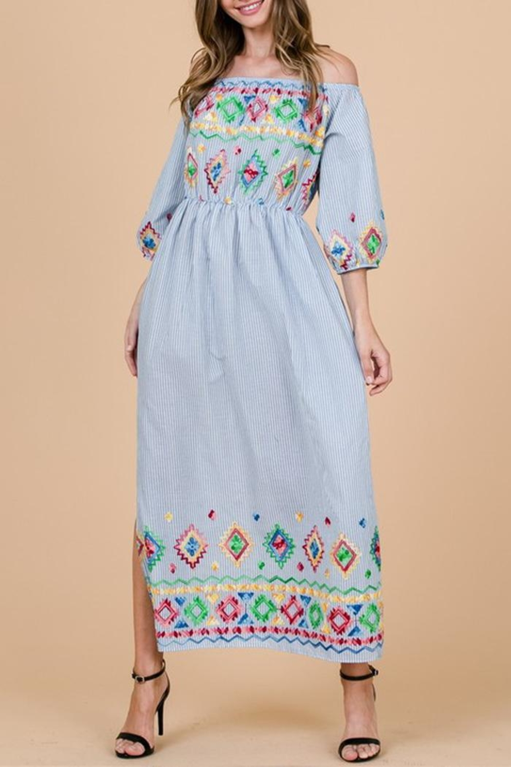 Ces Femme Boho Embroidered Dress - Front Cropped Image