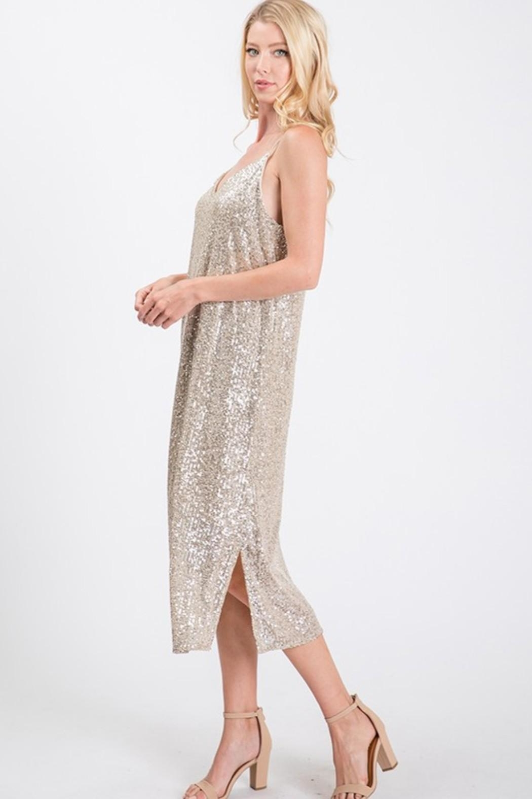 Ces Femme Champagne Sequin Dress - Front Full Image