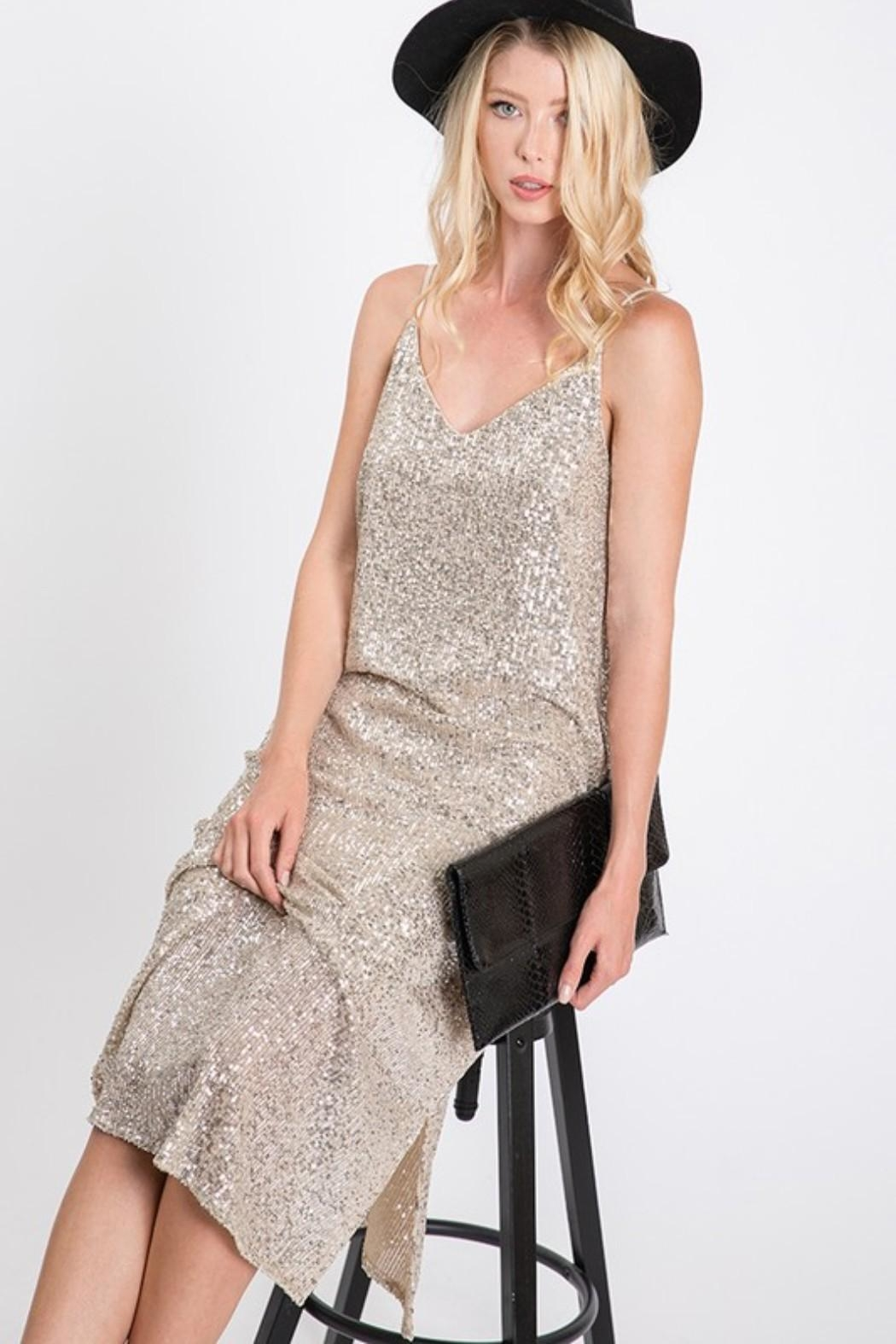 Ces Femme Champagne Sequin Dress - Back Cropped Image