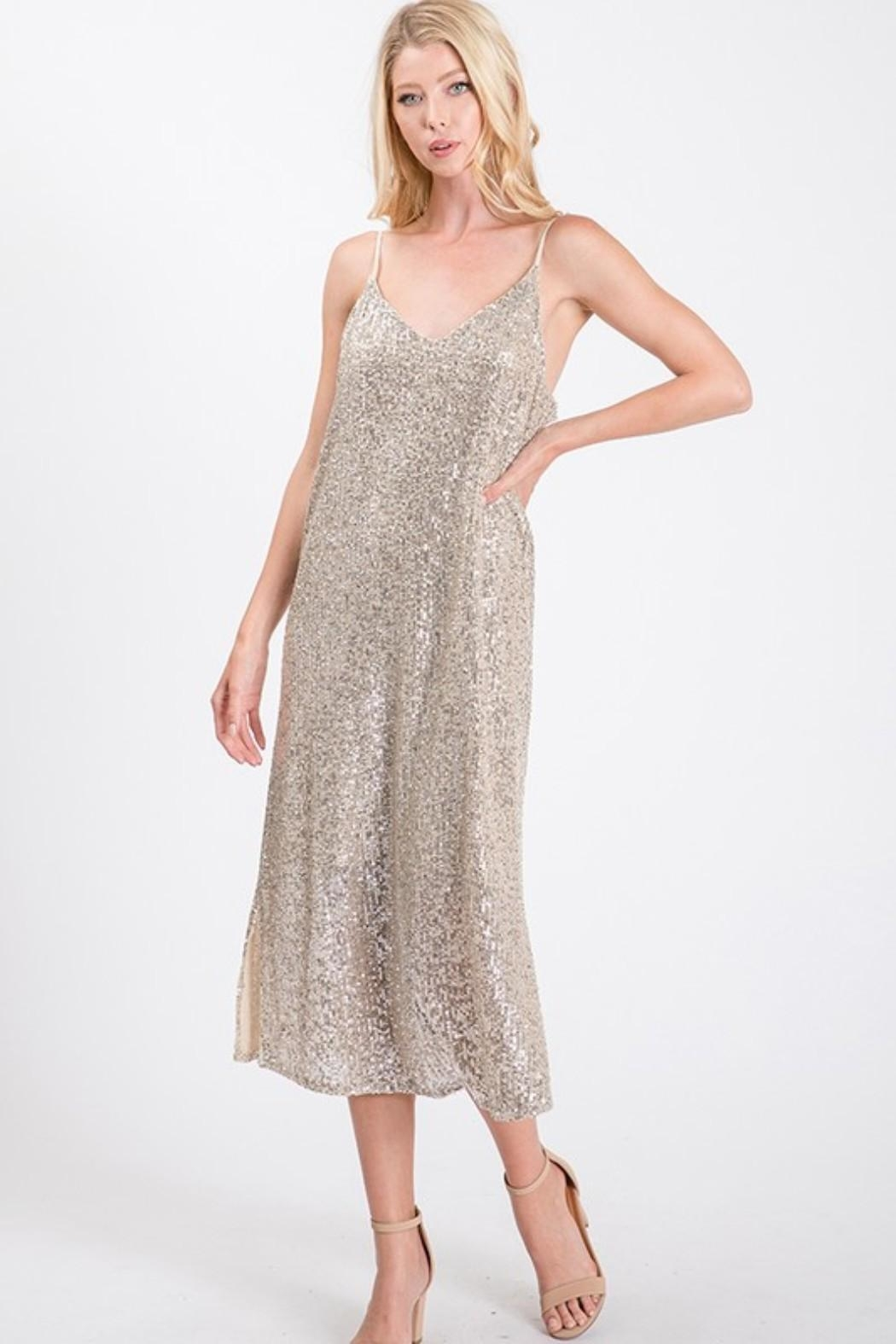 Ces Femme Champagne Sequin Dress - Main Image