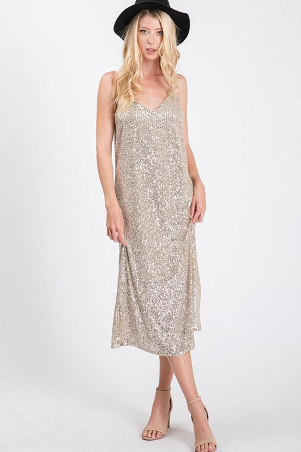 Ces Femme Champagne Sequin Dress - Side Cropped Image
