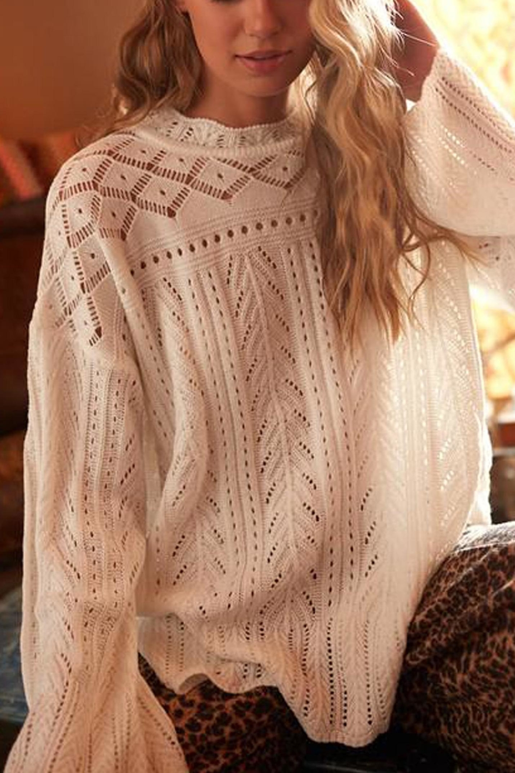 Ces Femme Cream Cutout-Detail Sweater - Front Full Image