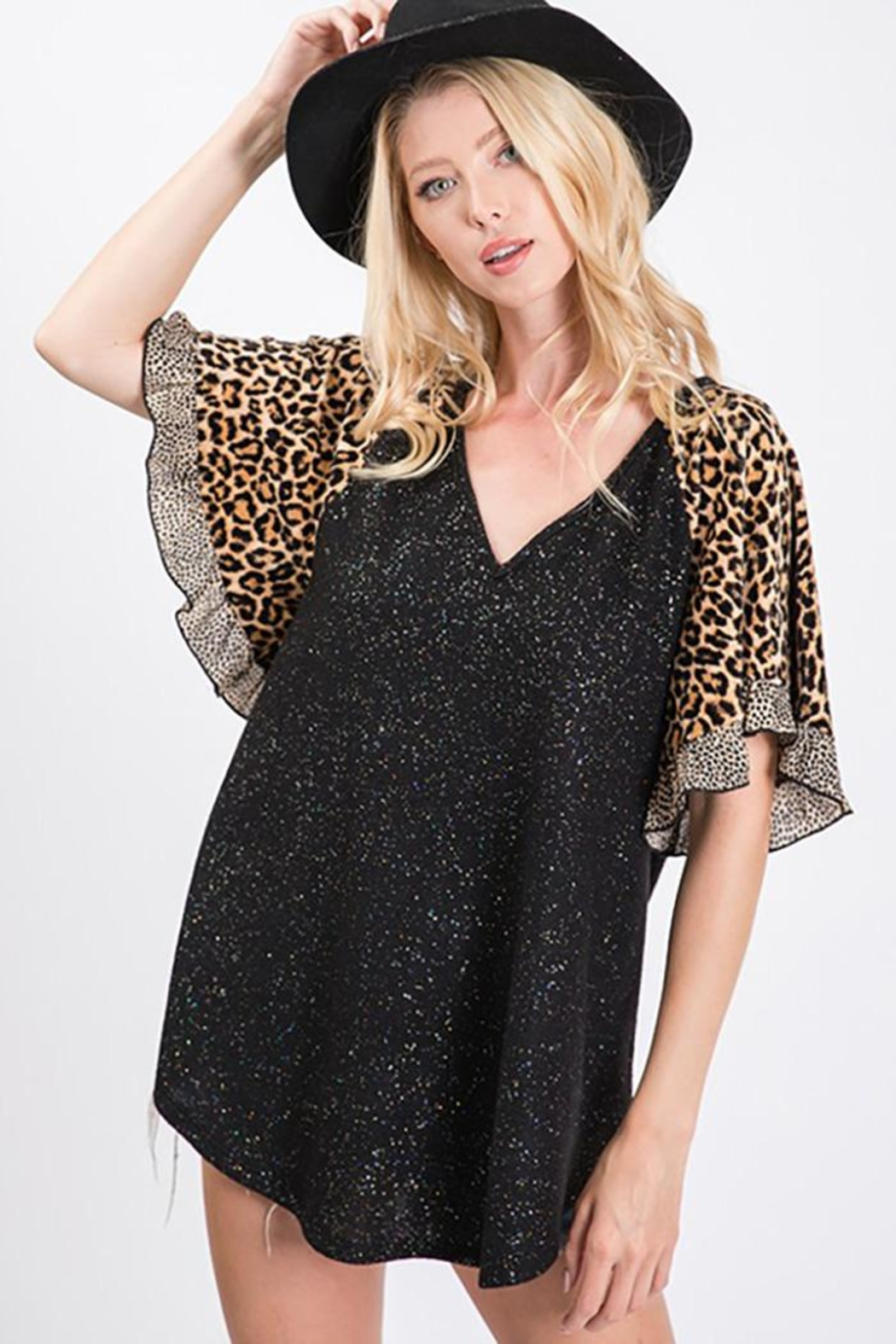 Ces Femme Lurex Animal Print Top - Front Cropped Image