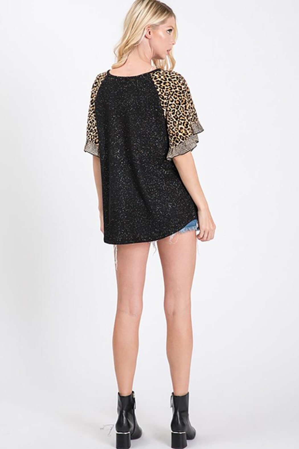 Ces Femme Lurex Animal Print Top - Back Cropped Image