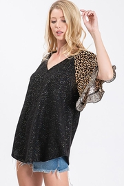 Ces Femme Lurex Animal Print Top - Side cropped