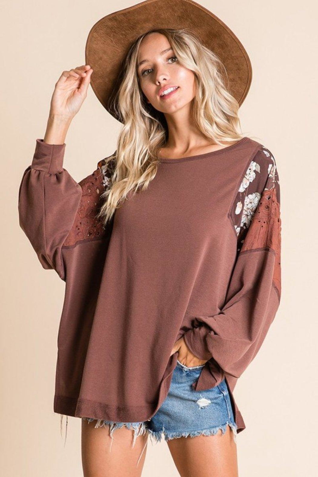 Ces Femme Mix-Match Boxy Top - Front Full Image