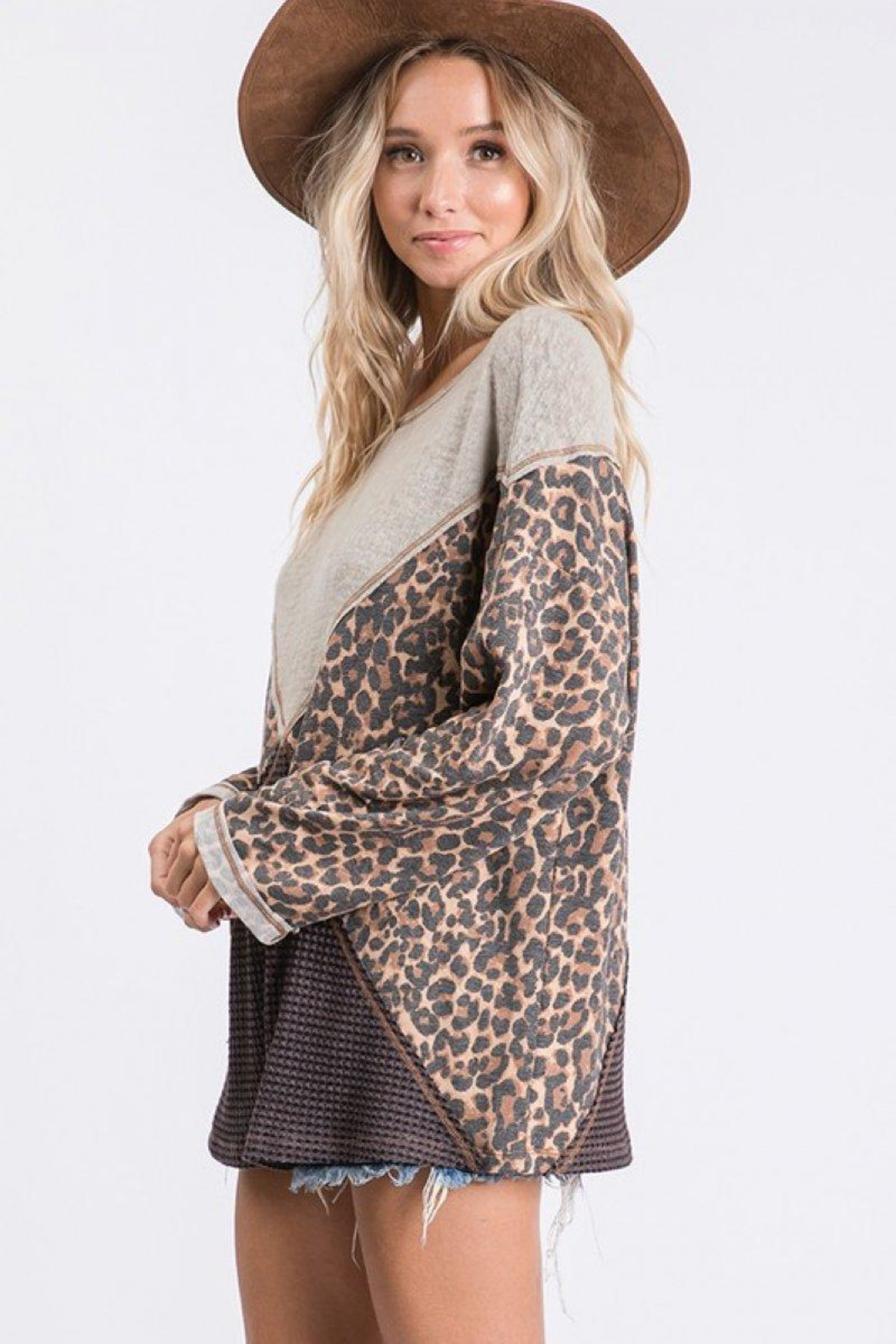 Ces Femme Mixed Matched Tunic - Back Cropped Image