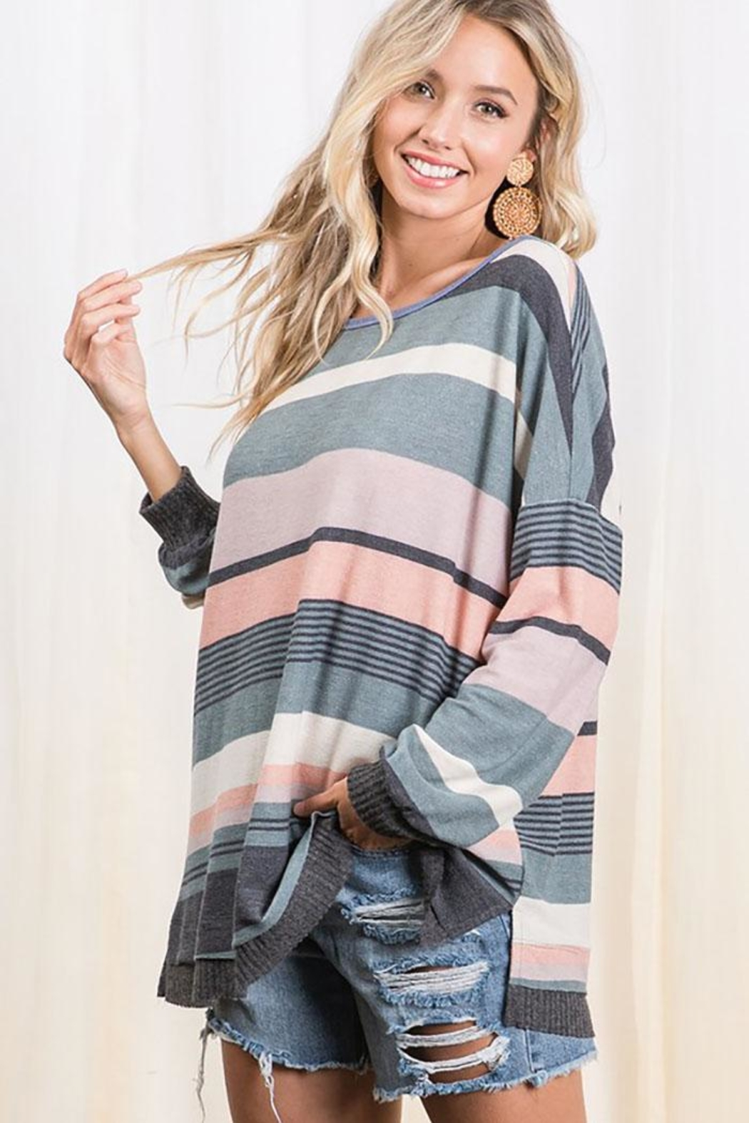 Ces Femme Multi Color Stripe Colorblock Tunic Top - Side Cropped Image