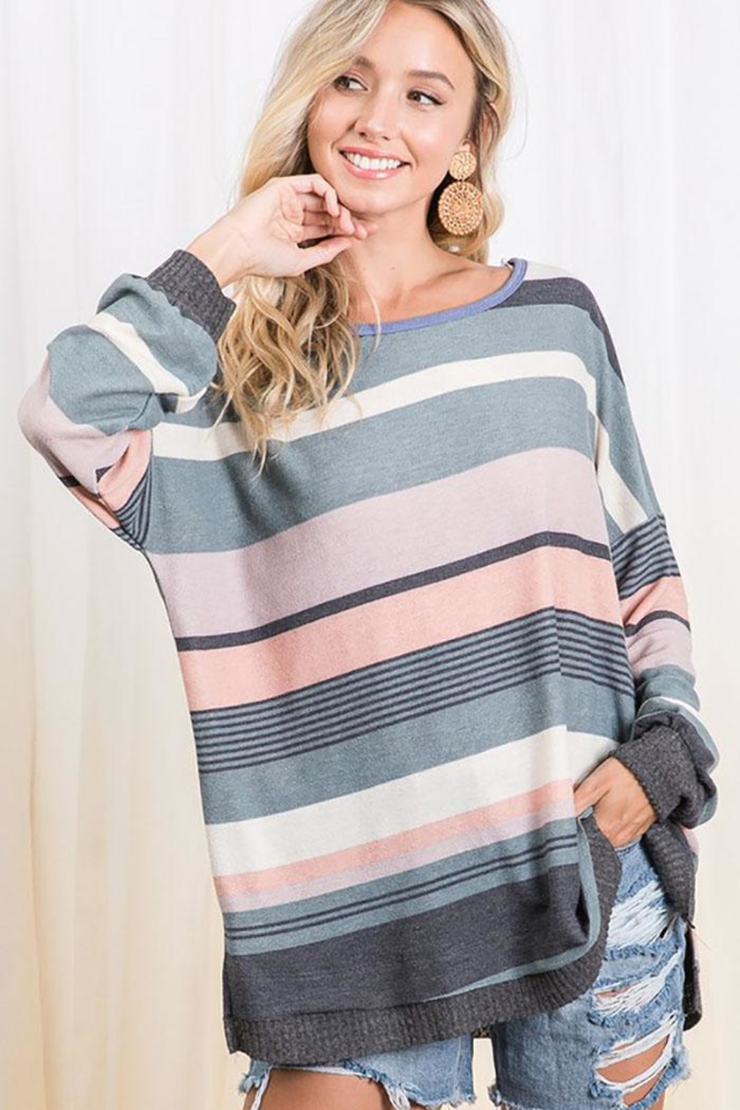 Ces Femme Multi Color Stripe Colorblock Tunic Top - Front Full Image