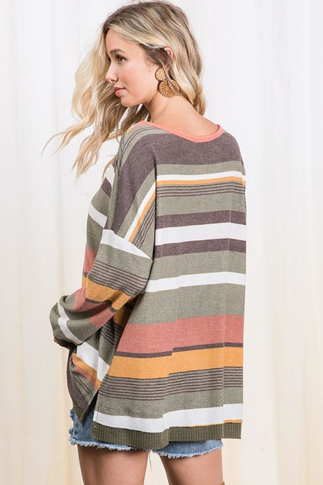Ces Femme Multi Color Stripe Colorblock Tunic Top - Back Cropped Image