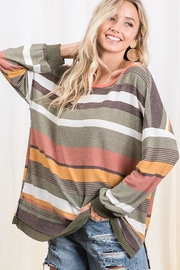 Ces Femme Multi Color Stripe Colorblock Tunic Top - Front cropped