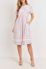 Ces Femme Pink-Taupe Midi Dress - Front full body