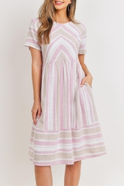 Ces Femme Pink-Taupe Midi Dress - Front cropped