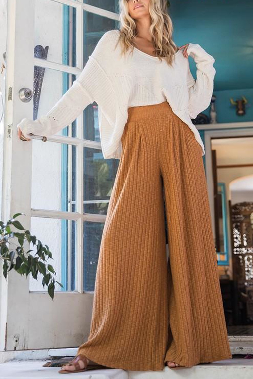 Ces Femme Ribbed Palazzo Pants - Front Full Image