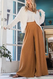 Ces Femme Ribbed Palazzo Pants - Front full body