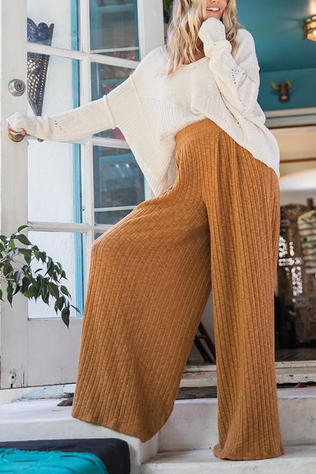 Ces Femme Ribbed Palazzo Pants - Back Cropped Image