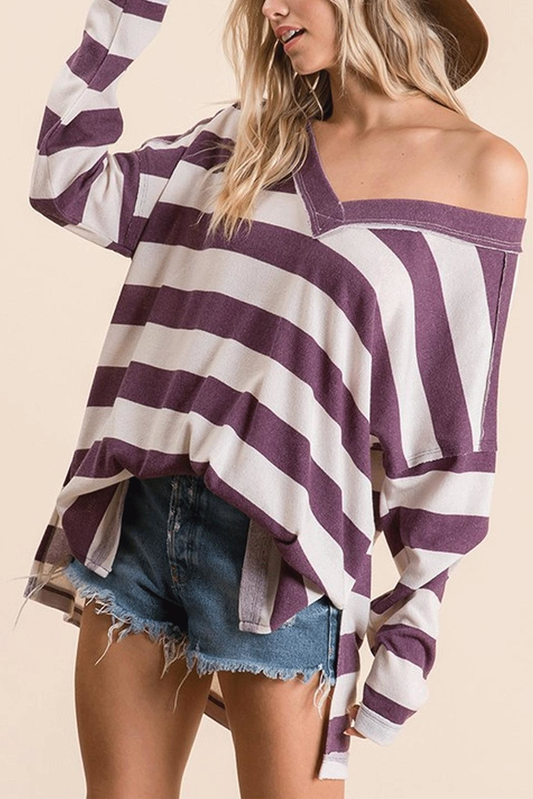 Ces Femme Striped V-Neck Sweater - Front Cropped Image