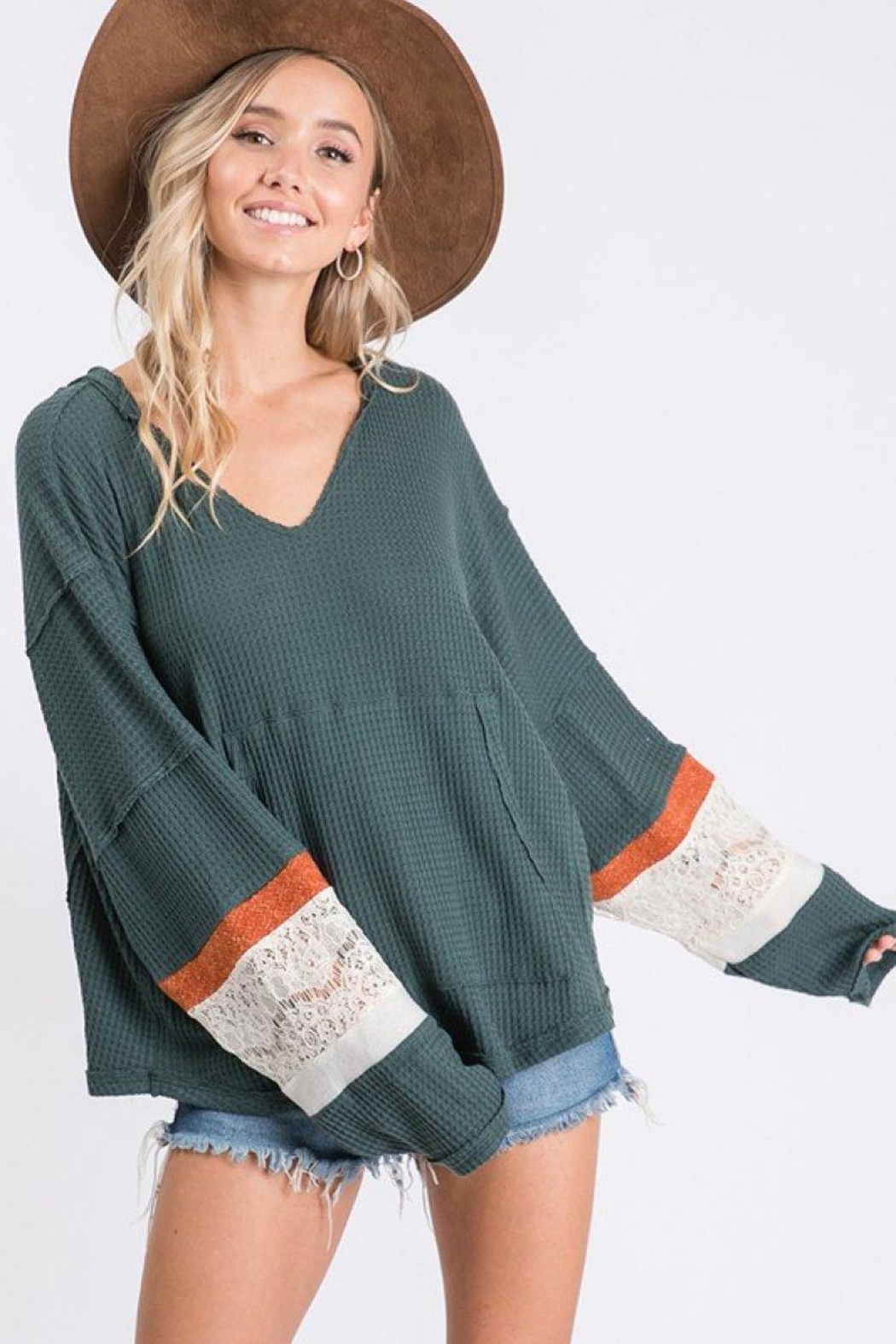 Ces Femme Waffle Hoodie Top - Side Cropped Image