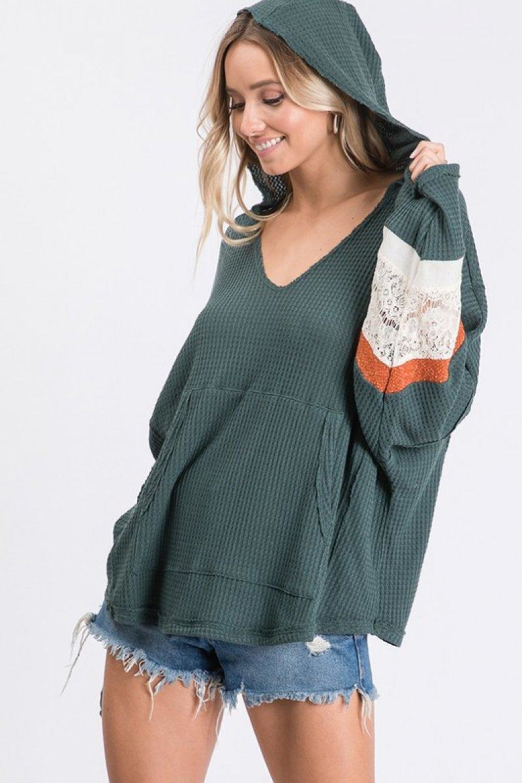 Ces Femme Waffle Hoodie Top - Back Cropped Image