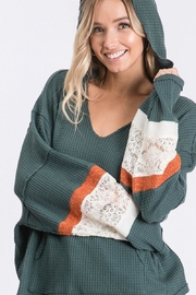 Ces Femme Waffle Hoodie Top - Front full body