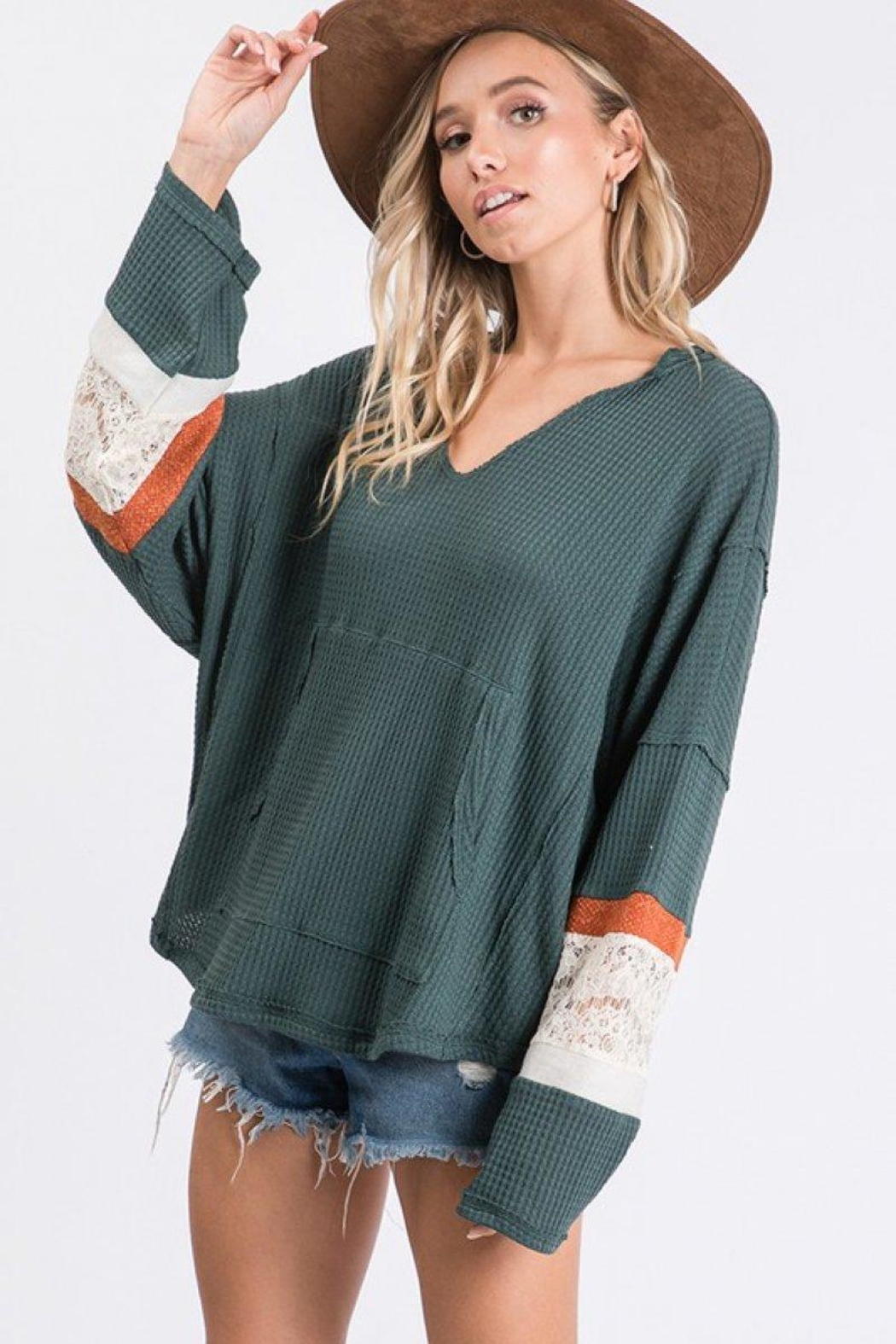 Ces Femme Waffle Hoodie Top - Main Image
