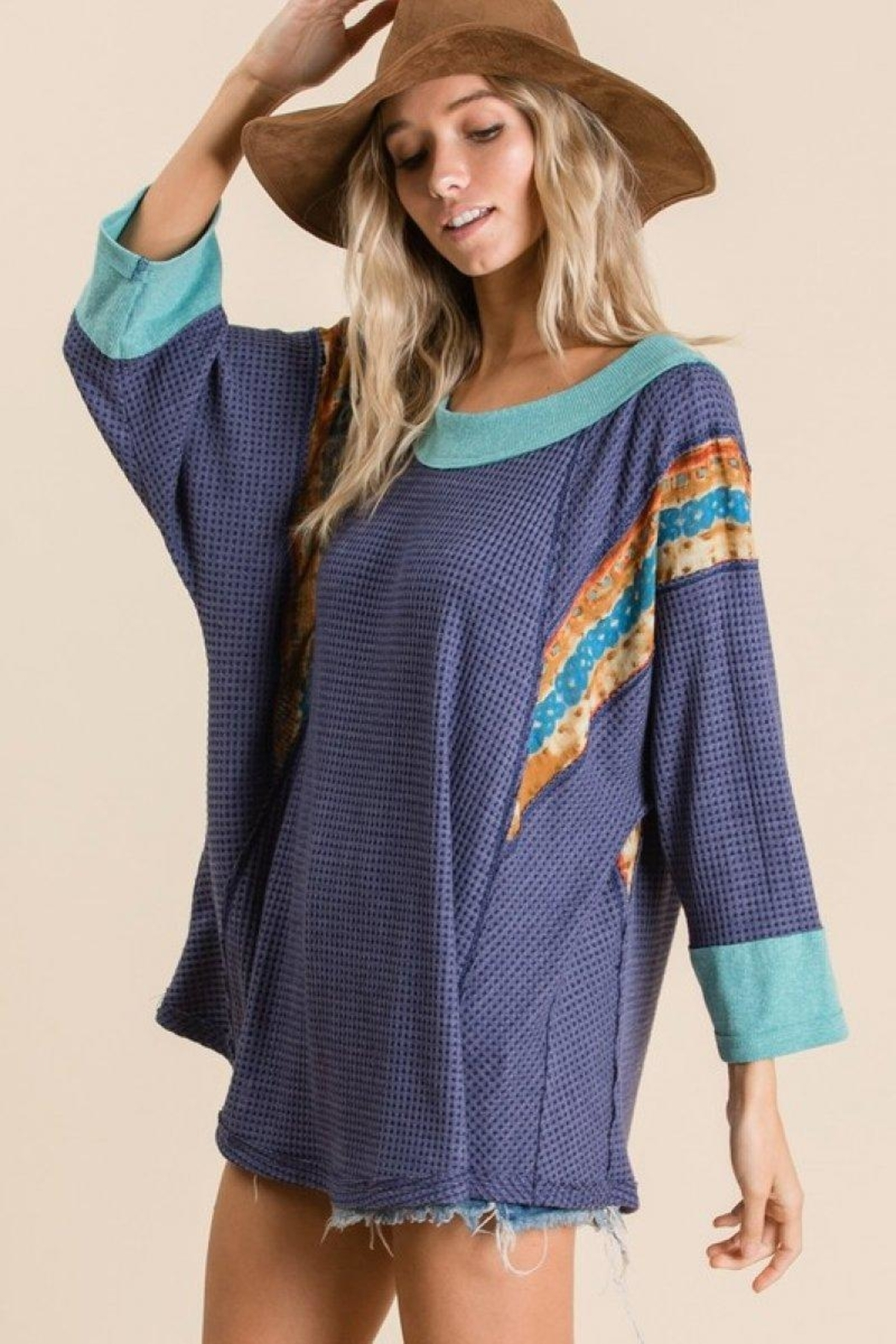 Ces Femme Waffle Knit Top - Front Full Image