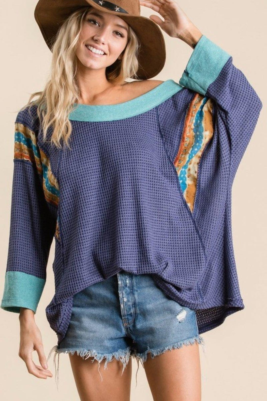 Ces Femme Waffle Knit Top - Side Cropped Image
