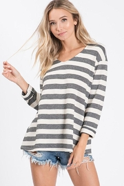 Ces Femme Yarn Dyed V Neck Top - Product Mini Image